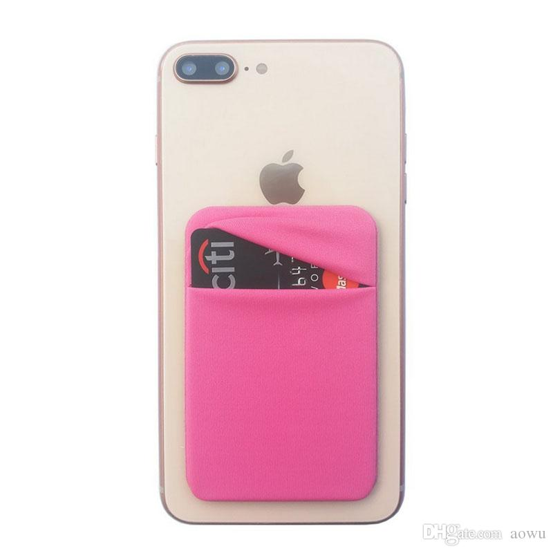 Cell Phone Wallet Case Pocket Elastic Lycra Adhesive Credit ID Card Holder Sticker Pocket for Woman Man