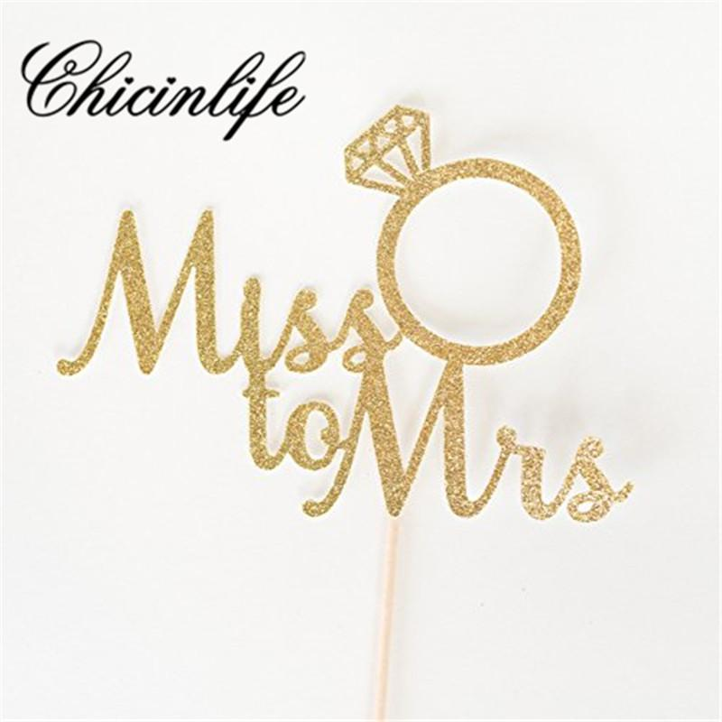 Chicinlife 5Pcs Miss To Mrs Diamond Ring Cake Cupcake Toppers Bridal Shower wedding Bachelorette Hen Party Decorations Supplie