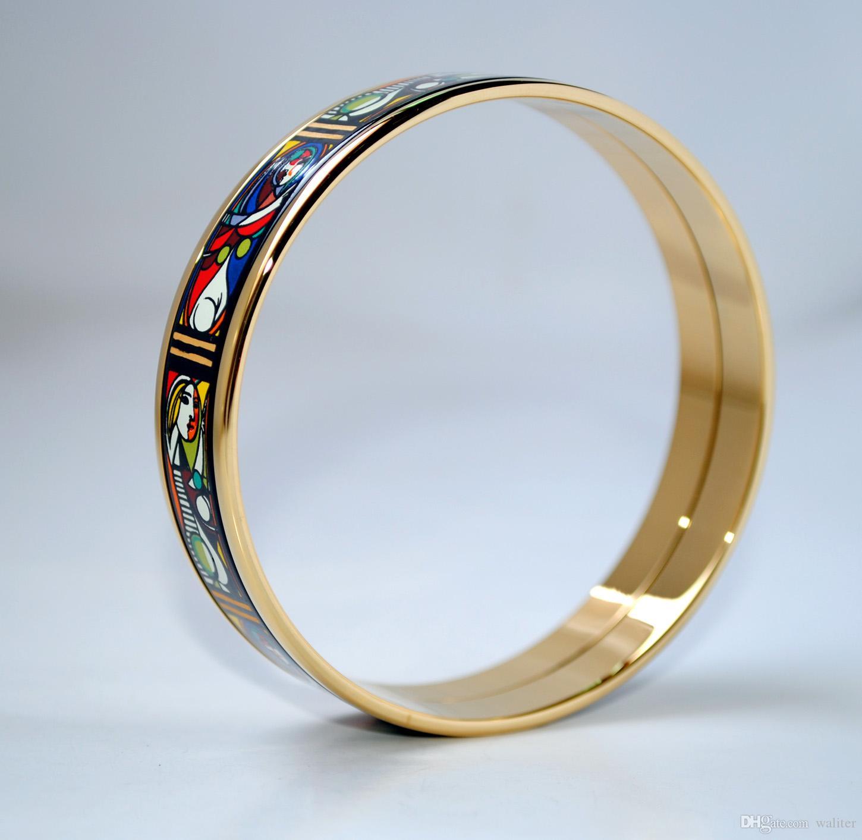 Femme Avant un bracelet en émail plaqué or Série Miroir 18K pour femme Top bons bracelets bracelets largeur 15 mm bijoux Styliste