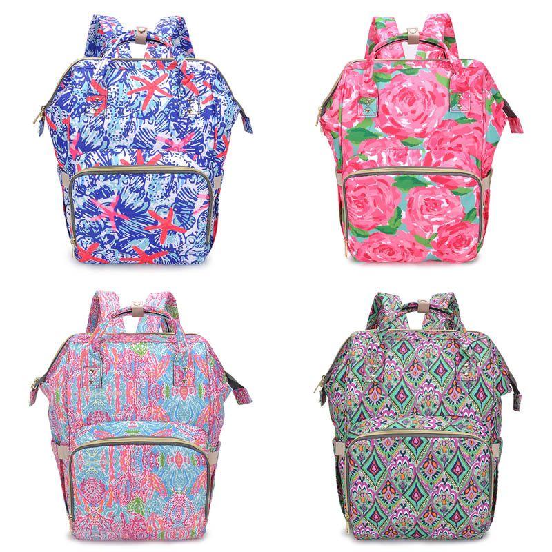 Floral momia Mochilas 7 Diseño de impresión del flamenco del pañal del bebé Mochilas Bolsas de pañales mamá de alimentación de la madre maternidad mochilas bolsas para pañales 06