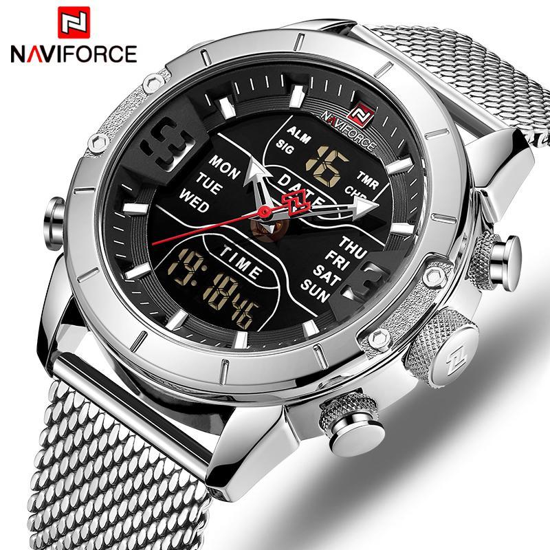 Marca relojes de los hombres NAVIFORCE de lujo para hombre de moda reloj deportivo llenos de acero a prueba de agua reloj del cuarzo del reloj digital LED Militar