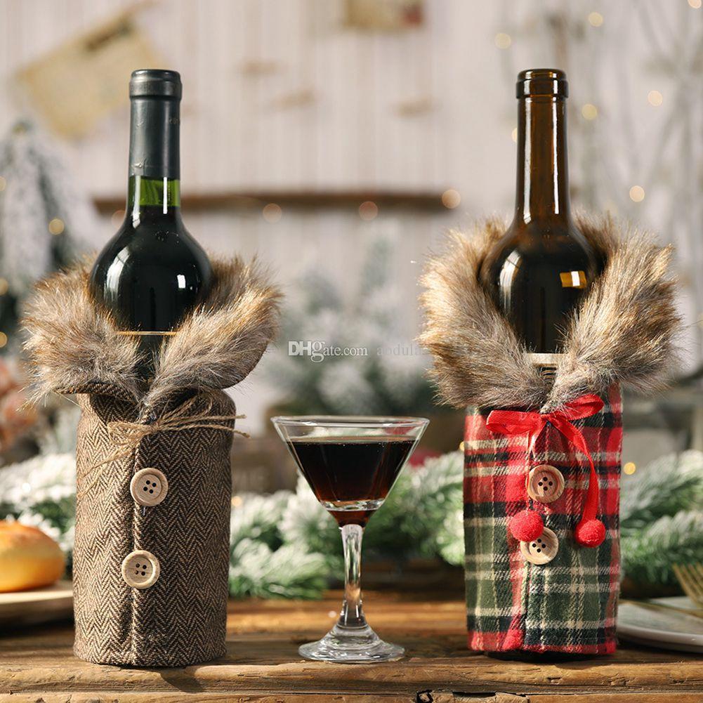 50pcs de Natal Decoração de Natal do vinho Plush Garrafa Bolsas Botão Wine Bottle manta presente de Natal da tampa Bag 25 * 12 centímetros Champagne Decoração