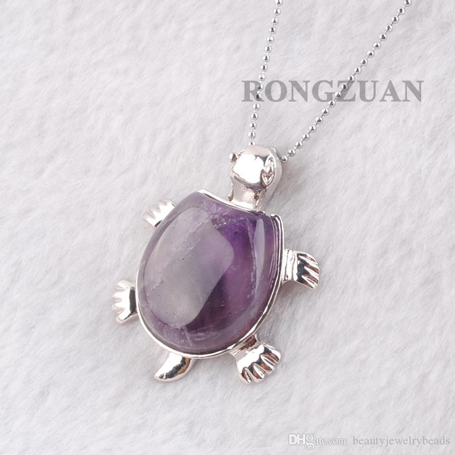 "Natural Amethyst Gemstone Bead Turtle Pendant Jewelry Animal Cute Tortoise Shape Reiki Dangle Pendants & Necklace Silver Chain 18"" DN3727"
