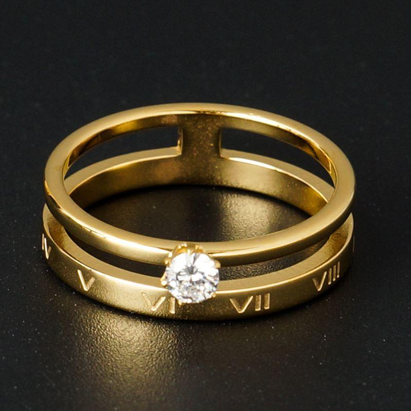 Crystal Hollow Out Ring Elegant Roman Numerals Rings for Women Gold Color Titanium Stainless Steel Ring Brand Jewelry