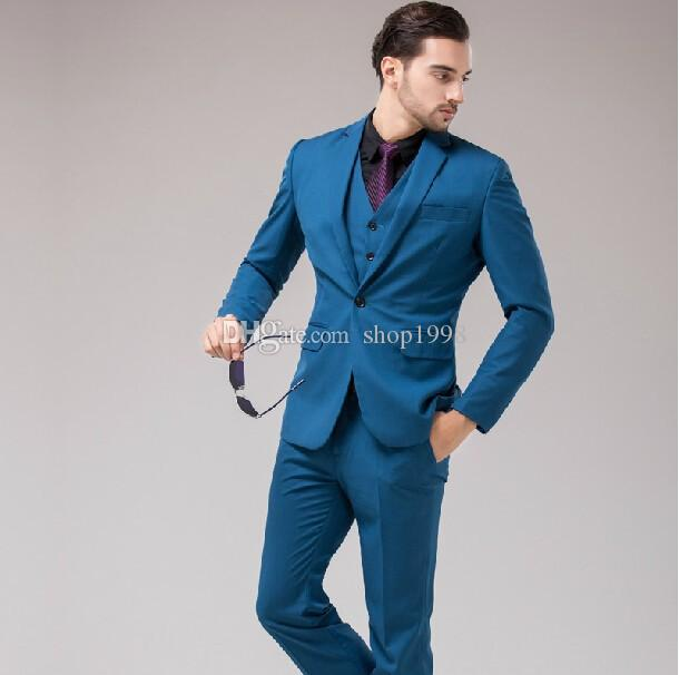 Smoking di vendita calda Smoking One Button Groomsmen Notch Risvolto Best Suit uomo Matrimonio / Abiti uomo Bridegroom (Jacket + Pants + Vest + Tie) A242