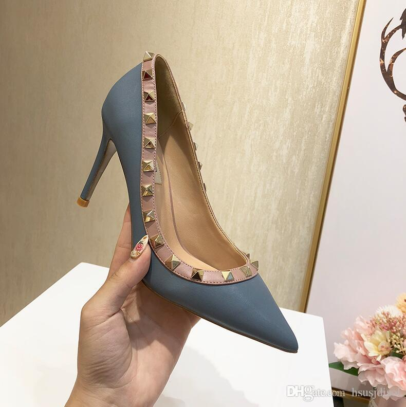 2019 nuova estate v casa opaco in pelle a punta rivetti scarpe da donna sexy francese tacchi alti tacchi alti donne scarpe EU34-43