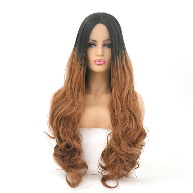 24 pulgadas Negro y marrón gradiente frente encaje señora peluca teñida en pelo largo y rizado gran ola volumen fibra química conjunto de peluca