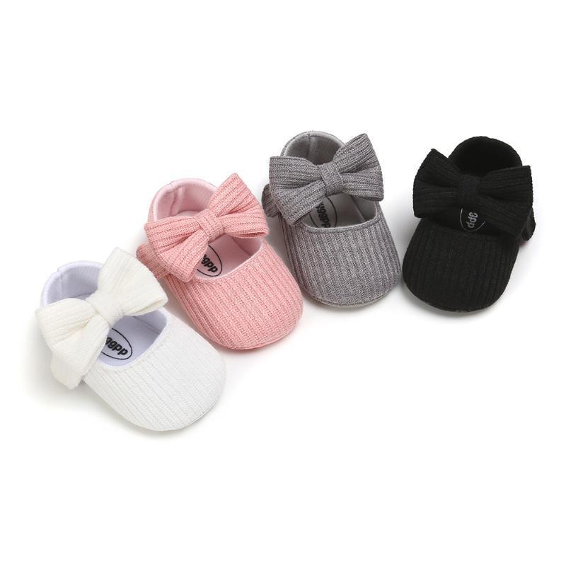 Zapatos de bebé recién nacidos de chicas zapatos infantiles del cochecito de niño de las muchachas de la princesa del Bowknot mocasines sólido blando