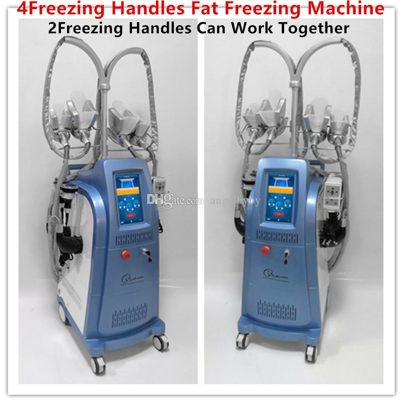 Лучшие 4 Замораживание жира Удаление Ручки Ультразвук 100MW Lipo Лазерная липосакция для похудения Кавитация РФ Криотерапия машина