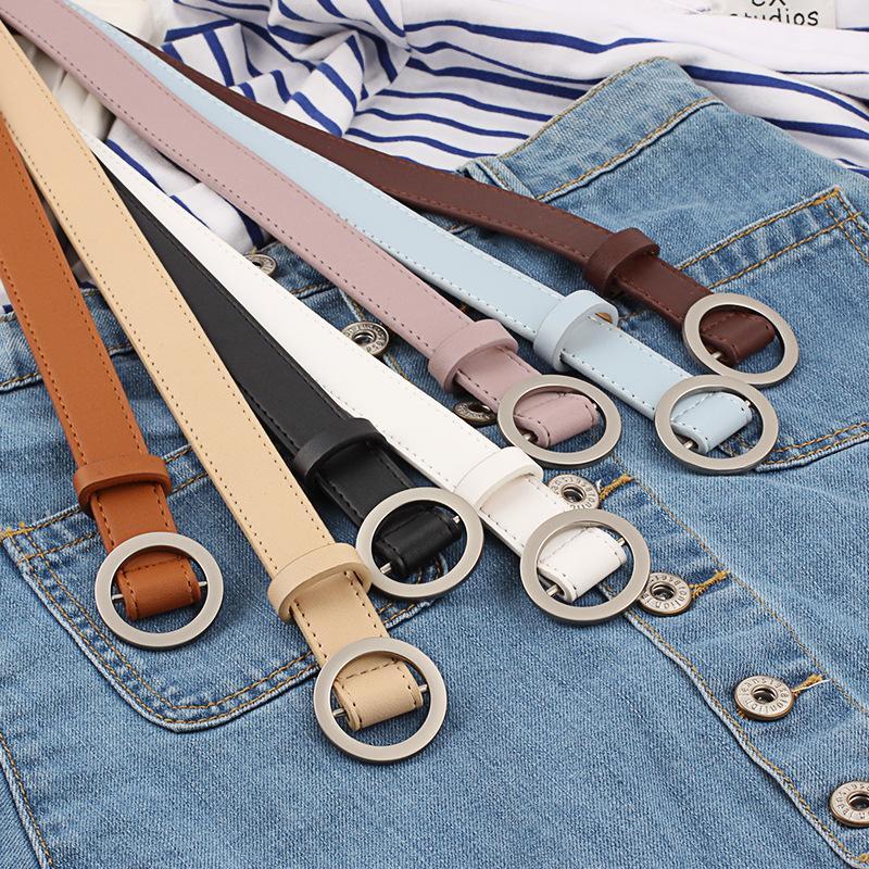 Caliente de la vendimia de las mujeres de la decoración de la correa de cuero PU correa lisa del círculo de la hebilla simple Cinturones de cuero delgada de la PU S825