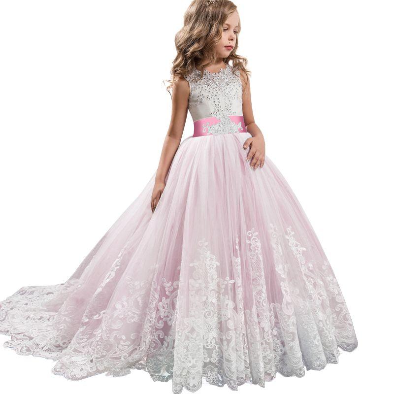 2019 Filles Robe d'été adolescent Robes d'honneur pour enfants pour filles Vêtements Princess Robe De Mariage Robe de mariée 3 14 10 12 ans