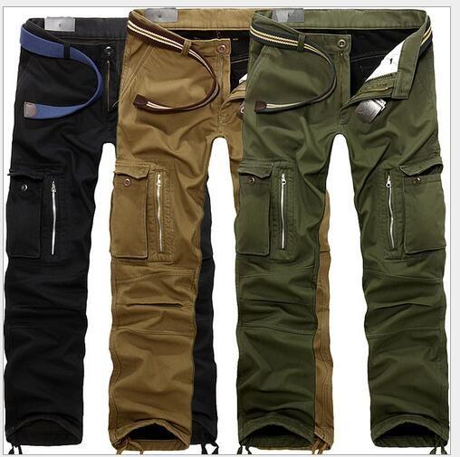 2018 Winter new high-grade plus velvet thick multi-bag overalls trousers men's trousers