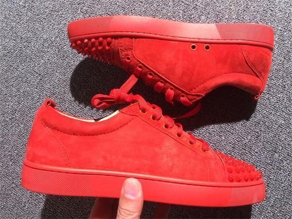 Designers Chaussures de Spike génisse Junior Mix Low Cut 20 Red Bottom Sneaker Party Luxe Chaussures de mariage en cuir véritable Spikes Chaussures à lacets Casual