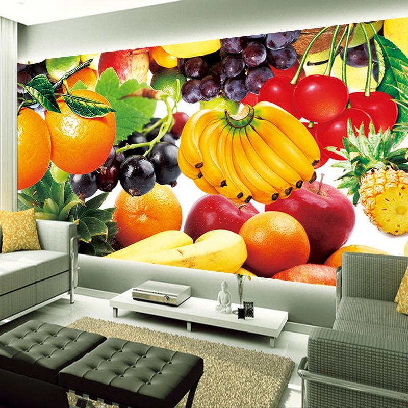 Dropship Fresh Fruit Gewohnheit 3D Fototapete Murals Restaurant Wohnzimmer Fernsehhintergrund-Wand-Ausgangsinnendekoration Art Design-Wand