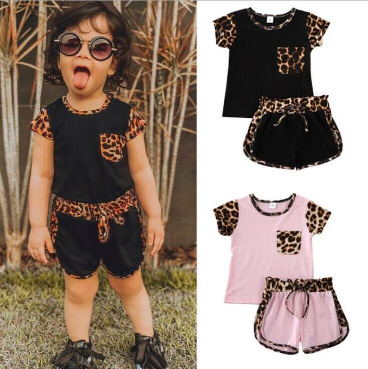 Crianças Designer Imprimir roupa do bebê Meninas Leopard Roupa Define bolso T-shirt Top Shorts terno verão Moda manga curta Pants Outfits PY536