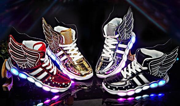 25-37 STRONGSHEN 2019 USB Charging Wing Led Children Shoes With Light UP Kids Casual Boys&Girls Sneakers Glowing Sneakers