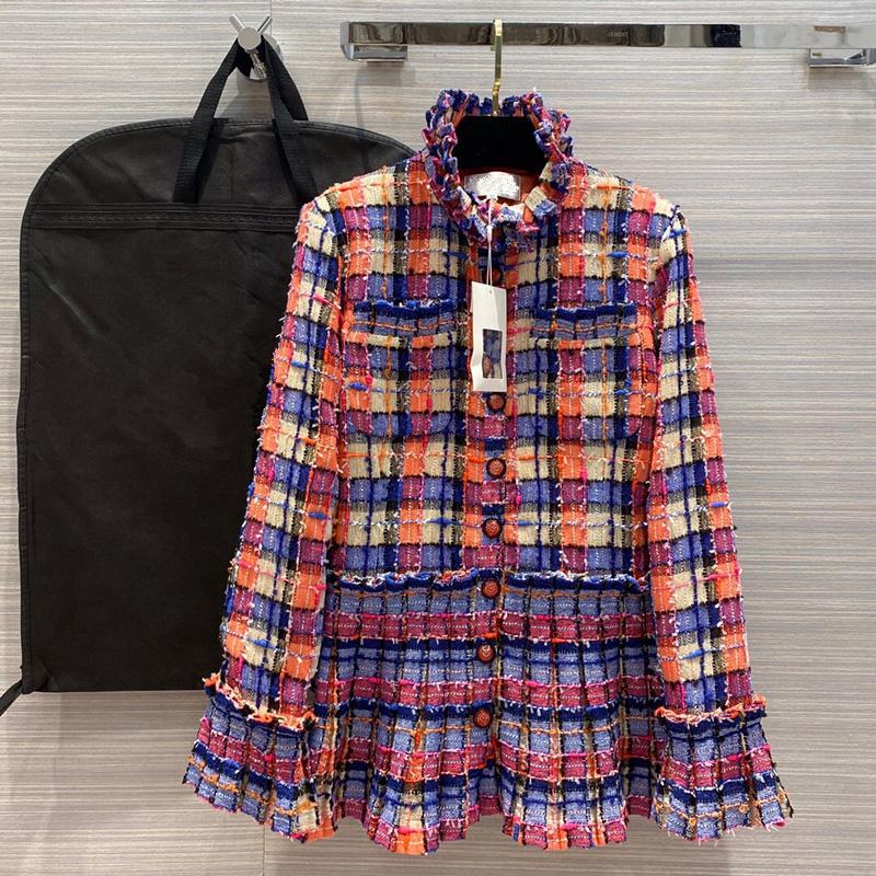 ropa de 2020 del verano del nuevo estilo de las mujeres europeas y americanas largo - standneck manga con el arco iris de tela escocesa de moda abrigo de tweed