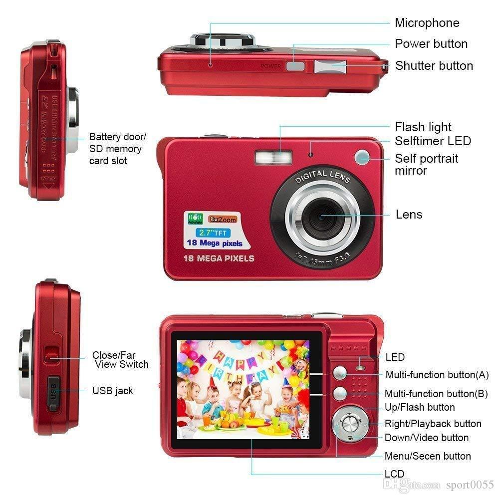 Foto della scheda video 1pcs 18M Pixel bambini fotocamera digitale Display a colori da 2,7 pollici stile Digital Record fotocamera HD 8x zoom intelligente automatico