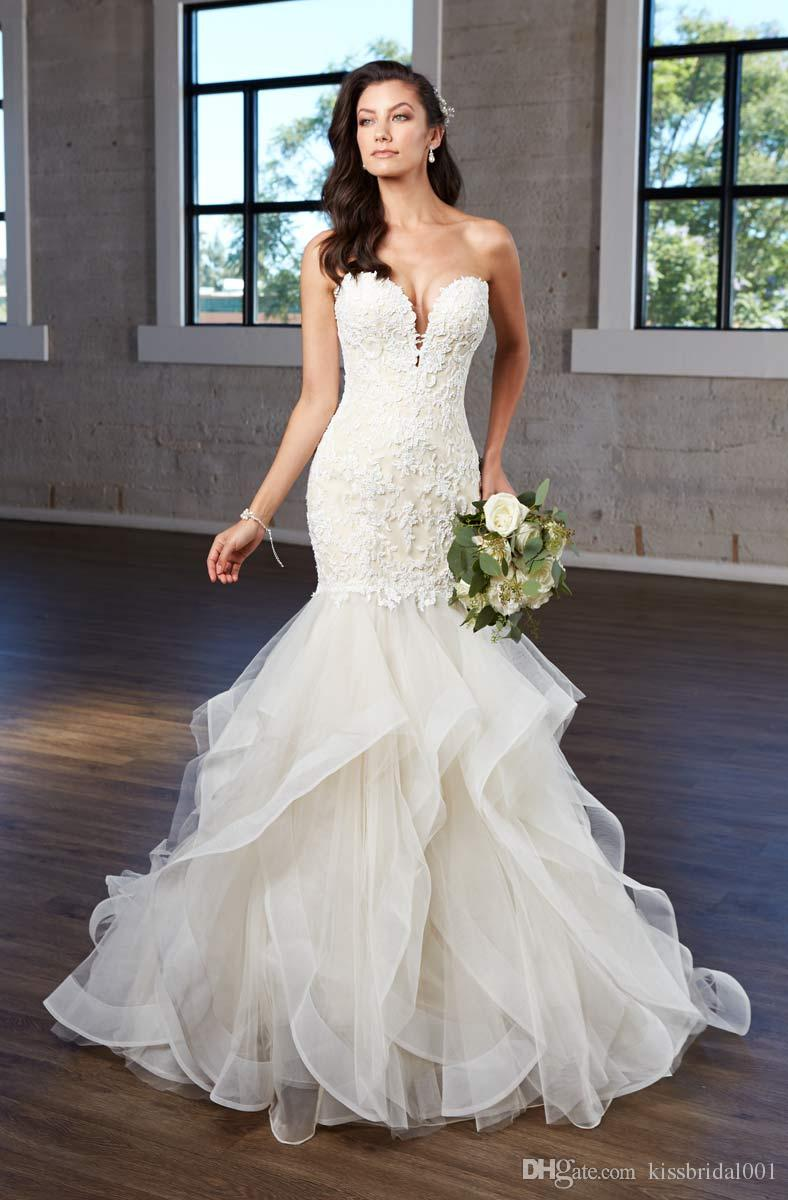 2019 vestidos de casamento Sereia com Cascading Skirt decote Lace Wedding Dress Applique Tulle vestidos de noiva