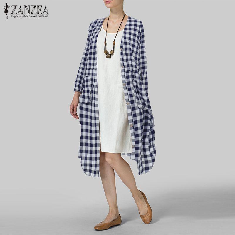 النساء منقوشة تحقق طويل بلوزة ZANZEA أنثى فضفاض زر أسفل قميص جيوب سترة كيمونو محبوك القطن الكتان طويل الأعلى Blusas 7