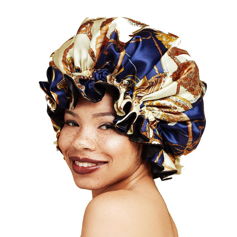 Europe and America Bonnet Women Night Sleep Cap Satin Lining Soft Extra Large Head Wear Lady Headwrap Hair Care Hat Wholesale