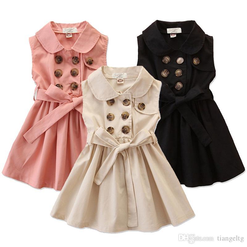 아이 소녀 민소매 드레스 3 솔리드 더블 브레스트 드레스 의상 여자 여름 드레스 1-6T 디자인