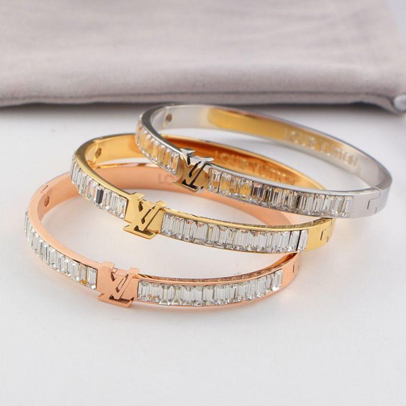 Estilo clásico de pulseras par de acero Titanium de la manera 18K brazalete plateado para el novio pulseras de personalidad Carta Rhinestone completa