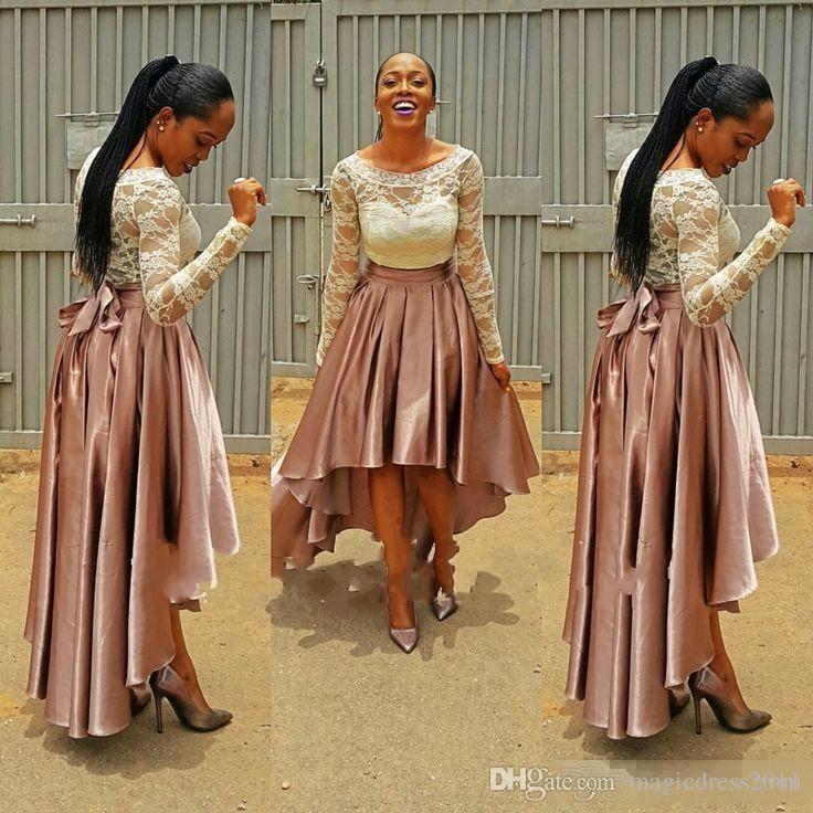 Ucuz Yüksek Düşük Pembe Balo Elbise bella naija Gelinlik Modelleri Dantel Üst düğün konuk Elbiseleri Uzun Kollu Artı Boyutu Abiye giyim 2019