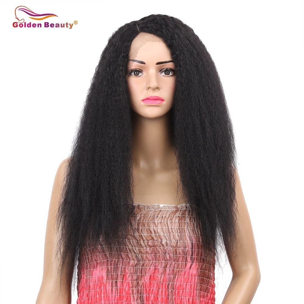 Parrucca diritta crespi capelli lunghi bellezza dorata 24inch parrucca per le donne nere Parrucca anteriore sintetica resistente al calore parrucca Y190717