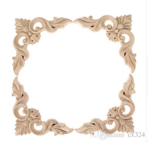 4pcs 8*8cm Wood Carved Corner Onlay Furniture Home Decorations Unpainted Applique