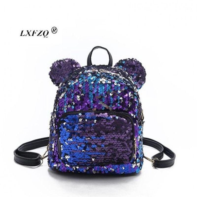 Yeni Sequins Sırt Çantaları Genç Kızlar Için Okul Çantaları Pu Mochila Sırt Çantası İpli Çocuklar Çanta Glitter Kız Seyahat Omuz Çantaları J190427