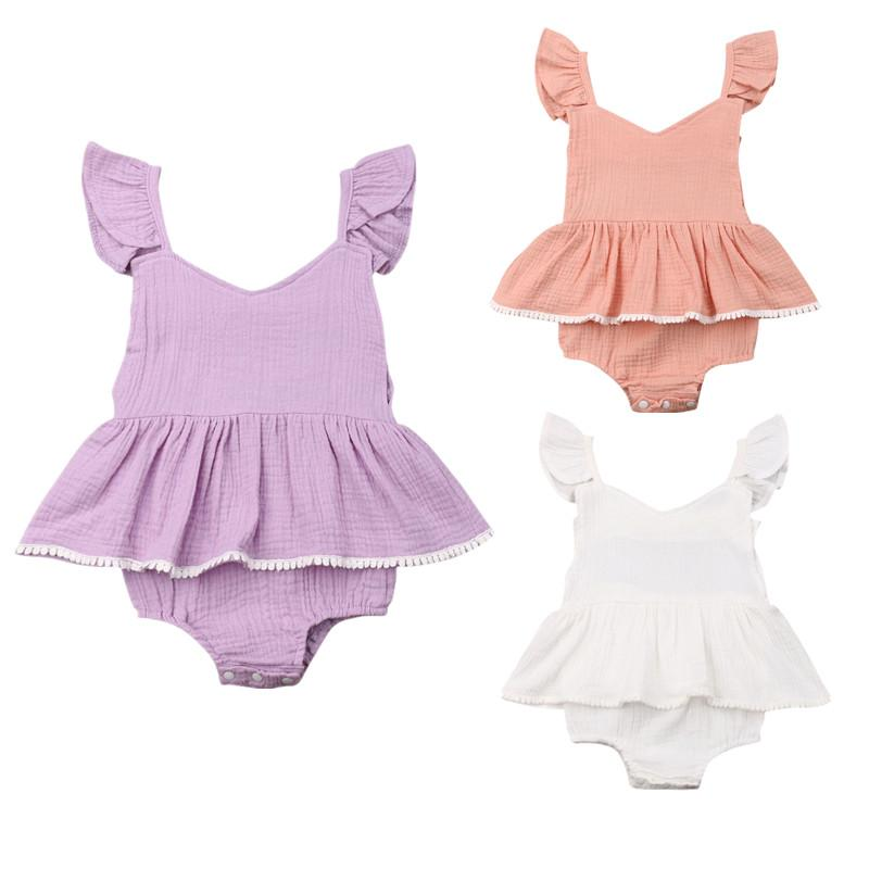 2020 Summer Newborn Baby Bodysuits Clothes Solid Casual Toddler Infant Sleeveless Cute Dress Jumpsuits Outfits
