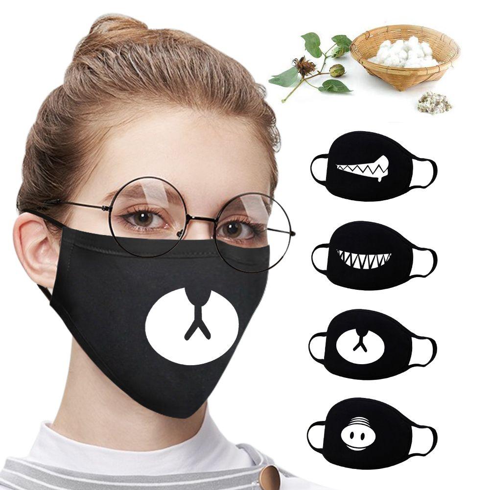Anti-poussière Coton bouche Masque Expression Noir Cartoon Motif Boutique chaud Masque unisexe Santé Cyclisme respirateurs