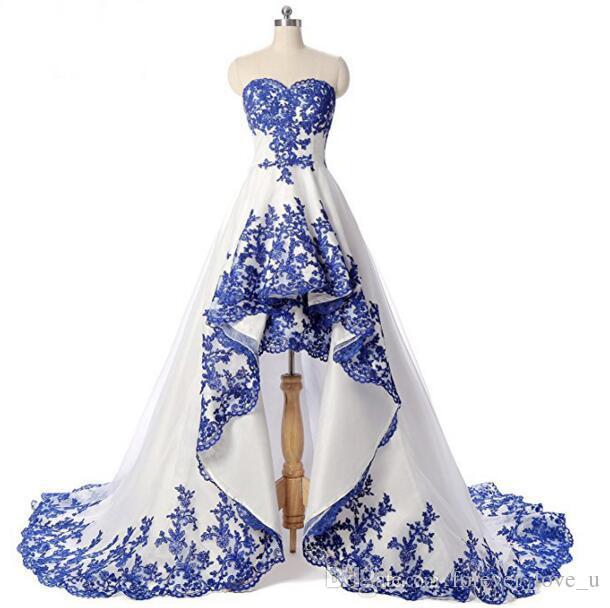 Weiße und königliche blaue Lace Appliques High Niedrige Brautkleider Schatz Sleeveless Kurzfront Lange Back Organza Brautkleider Hohe Qualität