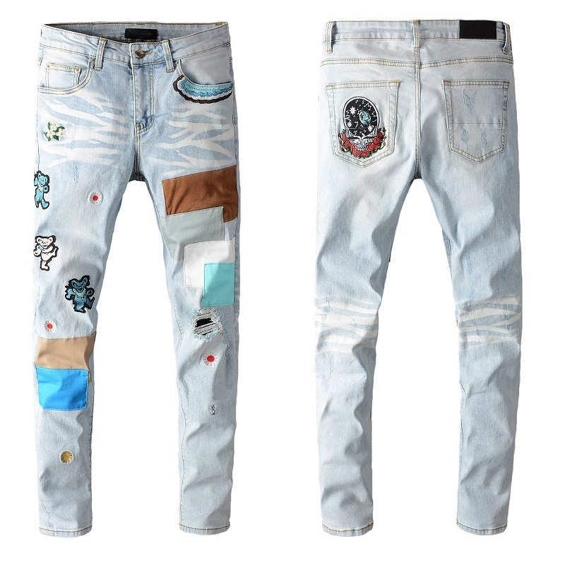 Hombre de la moda de los pantalones vaqueros de la nueva llegada de los hombres ocasionales de los pantalones vaqueros de la venta caliente impresos Hole Streetwear Jeans Tops Pantalones hombres 6 Estilos 28-40