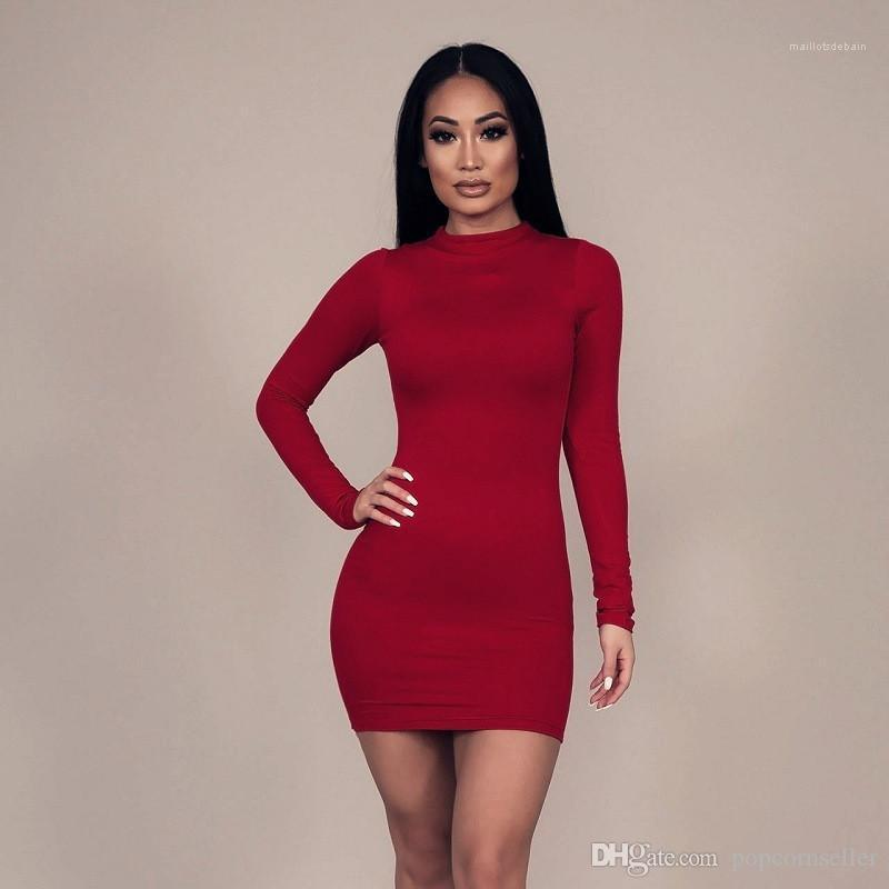 Hohe Kragen mit langen Ärmeln Designer Damen Kleider Frauen neue Art und Weise Reißverschluss Etuikleid Herbst Solid Color