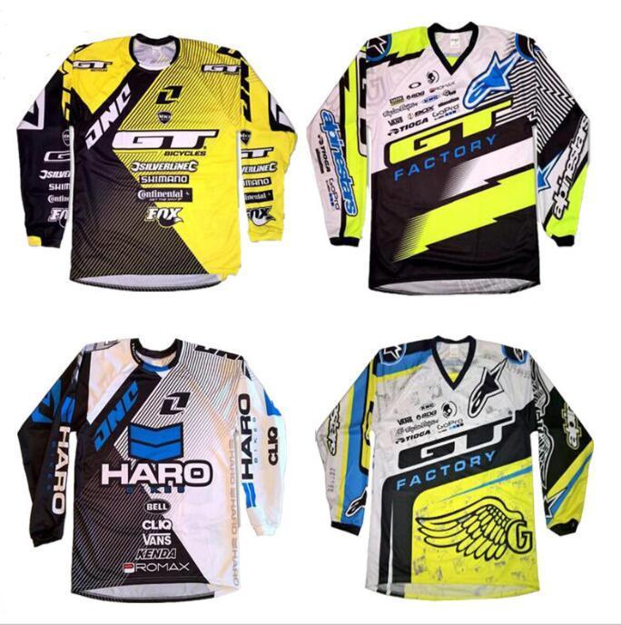 Новый GT падение скорости костюм с длинным рукавом летом горный беговой мотоцикл Джерси рубашки мужского DH велосипед быстросохнущие костюм
