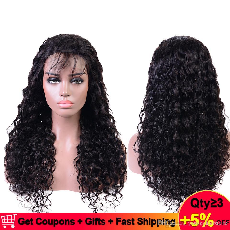 U 부분 가발 브라질 물 웨이브 레이스 앞 인간의 머리 가발 4 * 4 미리 뽑아 150 % 레미 Perruque Cheveux Humain Bresiliens