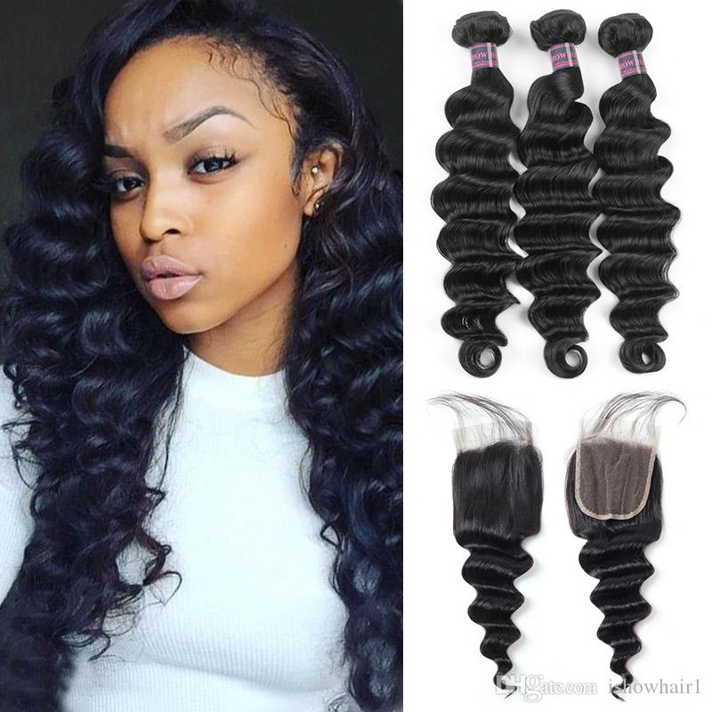 Ishow Indien Human Cheveux Bundles avec fermeture de dentelle 4x4 Brésilienne 3pcs Lâche Extensions Virgin Virgin pour Femmes Tous âges Couleur naturelle 8-28inch
