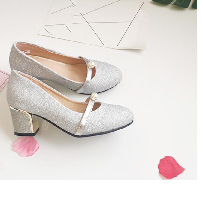2020 весной и осенью с обувью Новый стиль моды Высокий каблук Грубый пятки круглая голова женщин в @ MQWBH705