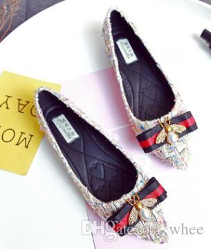 2019 Nueva marca Moda mujer Zapatos Little bee Luxury Designer Flat Walking Shoe Dress Party 424