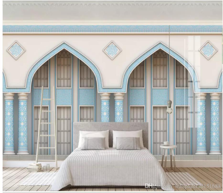 Bonito arco coluna romana 3d azul esculpida indiana parede da janela mural de parede