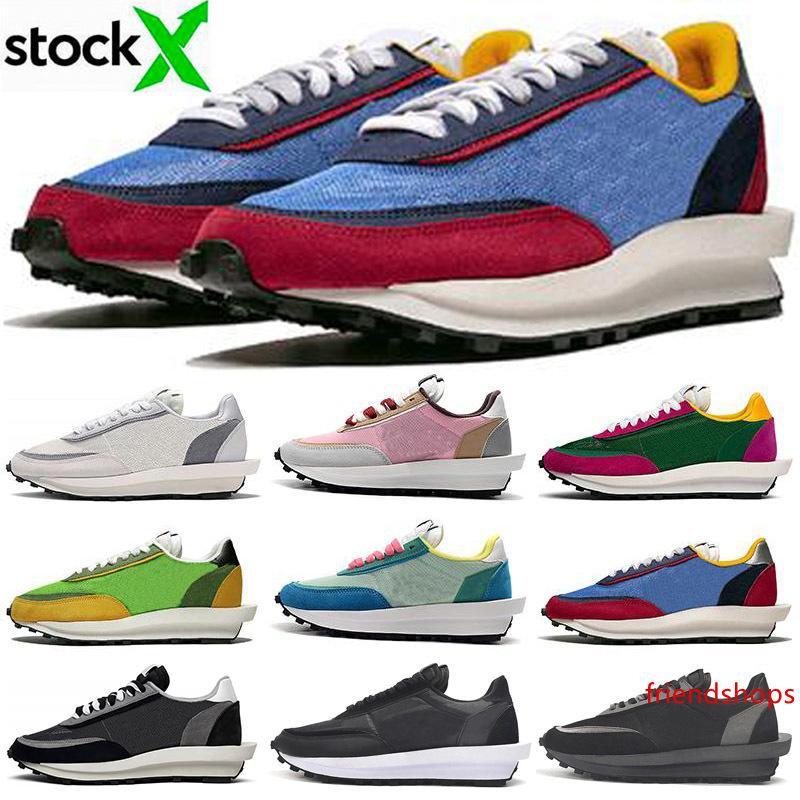 2020 Sacai LDV para hombre de la galleta de los zapatos corrientes de las mujeres Chaussures Triple Negro White Pine verde Gusto Varsity Blues aire Trainer Deportes zapatillas de deporte 36-45