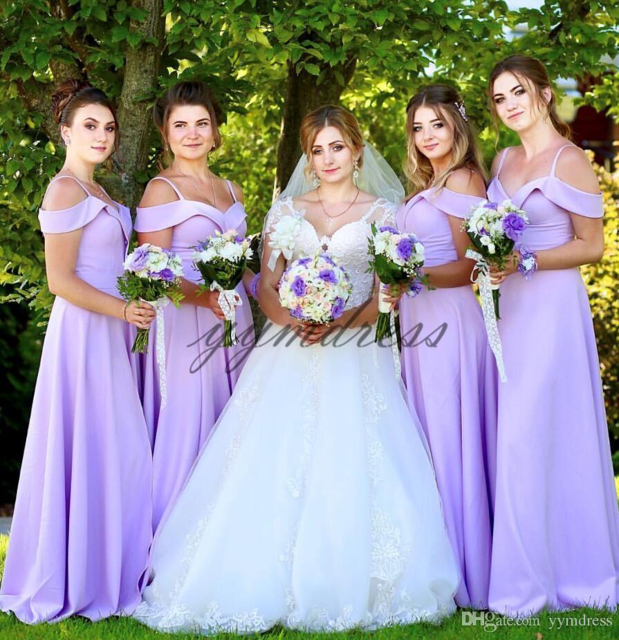 light Purple Bridesmaid Dresses 2019 Spaghetti neck Backless Floor Length Junior Maid of Honor Gowns Custom Made Wedding Party Dress