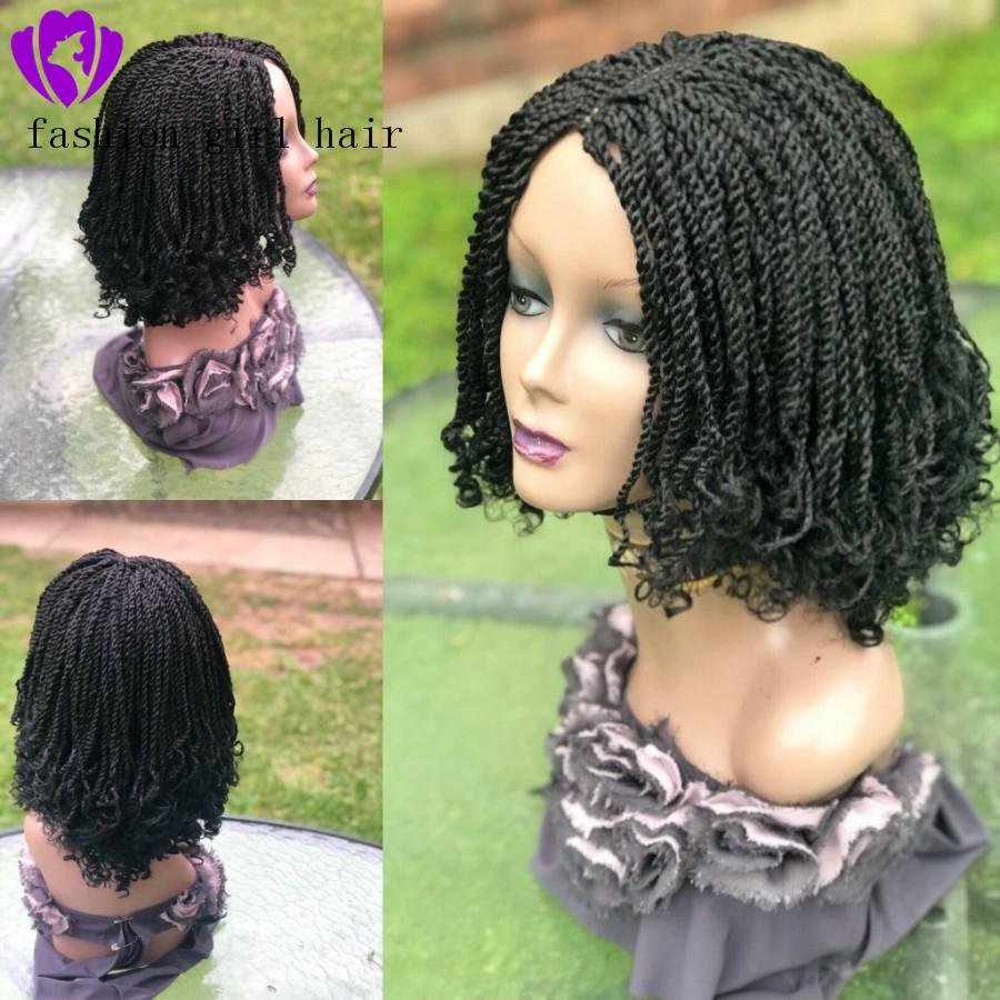 Handtied black/brown/Blonde Braided Lace Wig short curly braids lace front wig synthetic hair new bob box braids wig for black women