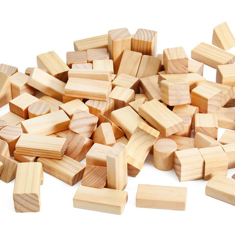 100 de madera a granel de grano Forma Heathy Building Blocks embotellada primera infancia juguetes Ingenio Cognición calcula el juguete educativo