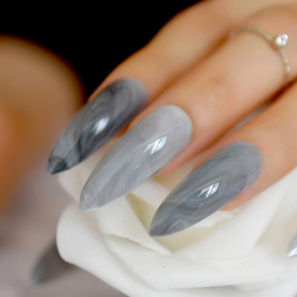 Extra longo Stiletto Grey Marble Falso Padrão Nails Pedra Apontado escuro brilhante longo Press On Falso para o dedo 24 Conde