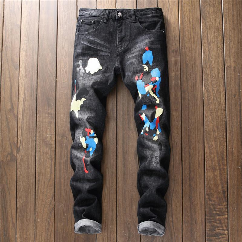 19Hip ropa del salto de diseño de impresión Pantalones Negro destruidos delgada para hombre del dril de algodón recto del motorista flaco Jans para los hombres pantalones vaqueros rasgados 28-38
