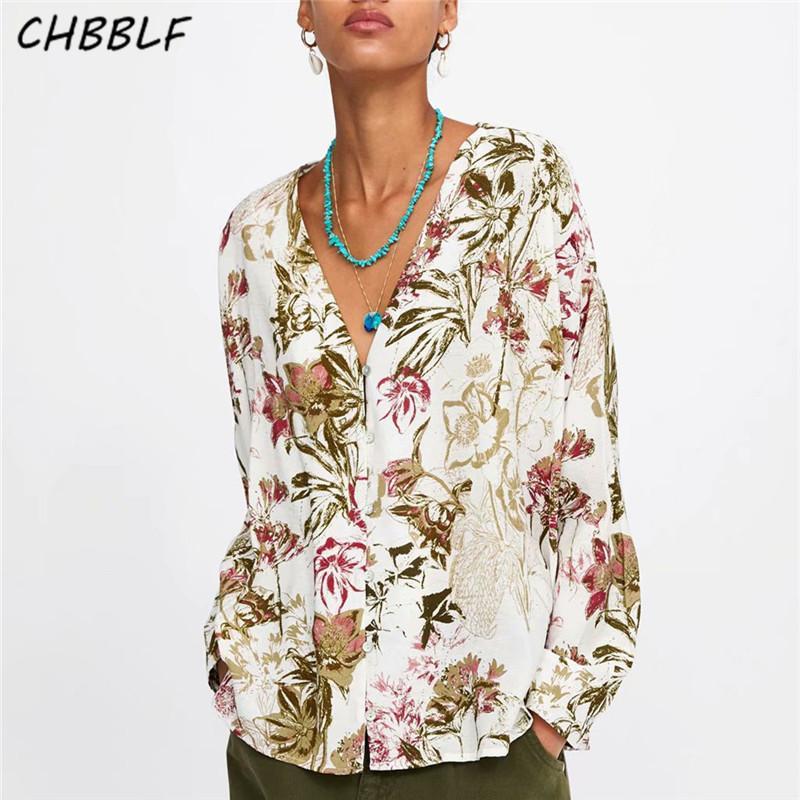 CHBBLF kadınlar vintage V boyun çiçek baskı gevşek bluz uzun kollu kadın casual blusas XDN8773 tops