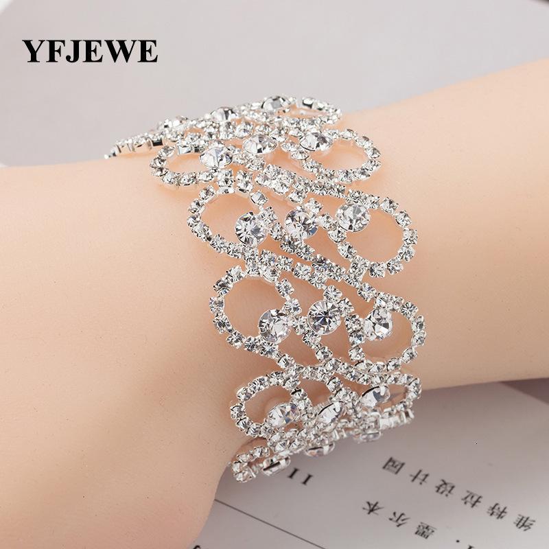 Genuínas jóias ornamentos populares Graça de cristal Rhinestone Exagero lindo prata senhora bracelete. Declaração Trendy Party For Women